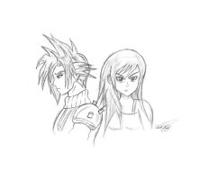 Cloud and tifa (sketch) by goldvicblest