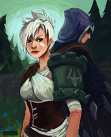 Riven x Talon - Art Trade by fivetinsoldiers