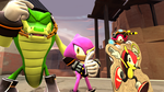 Team Chaotix hangin out with Mighty by ApocHedgie
