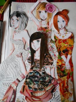 Collage dresses by lunatic-love