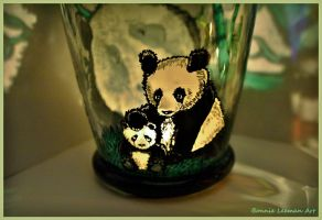 Momma Panda and Baby Panda Candle Jar by Bonniemarie
