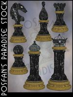 Chess Black Set by poserfan-stock