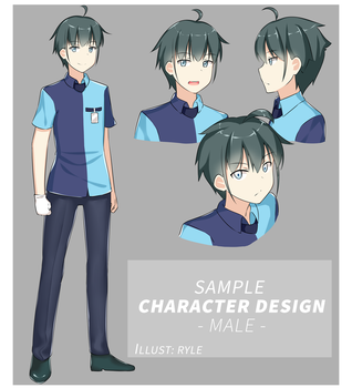 Sample Character design: Male by Ryle-chan