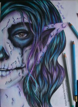 Girl behind the skeleton face by Huyen-Linh