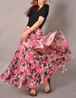 Pink White Brown Floral Skirt4 by yystudio