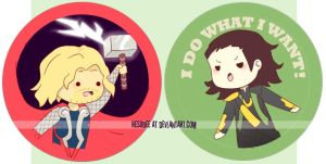 thor + loki buttons by resubee