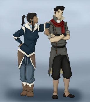 Korra And Mako - Lineart Colored by LilPrincess95
