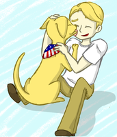 Cap and a Dog by Katfuzzmunchkin