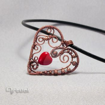 Wire pendant with red glass by artual