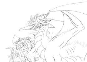 Dragons in prespective W.I.P by Denece-the-sylcoe