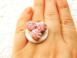 3 Pink Strawberry Cupcake Ring by souzoucreations