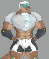 Streamline the muscle otter superhero, stylized by animagusurreal