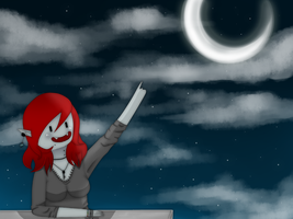 Michi watching the moon by MichiSanIkaseko