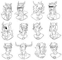 Trolls of Alternia Lineart by MindlessFaggotry