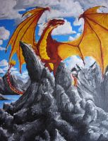 Dragon on the rocks by TicChallis