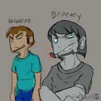 Herobrine and Brineary differences [quickdraw] by Herobrineing