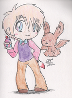 2P! England and Flying Chocolate Bunny by DeathPuppy9000