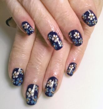 20150228 - Blue and White Flowers on Blue by m-everhamnails