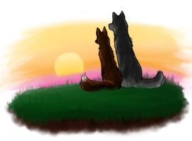 Wolf and Fox at Sunset by Lady-Vossler