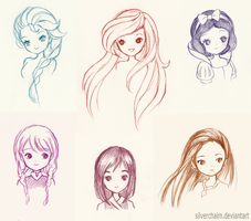 Disney Princess Sketches by SilverChaim