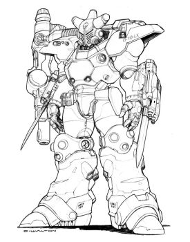RIFTS Shadow Boy Power Armor pencils by ChuckWalton