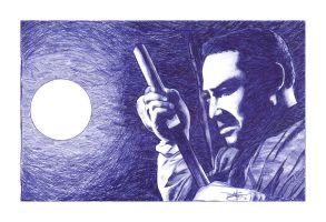 Zatoichi Blue Ballpoint Pen by NickJustus