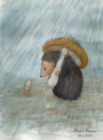 Little Hedgehog in the Rain by Amarathimi