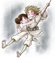 ANH - Luke + Leia by valval