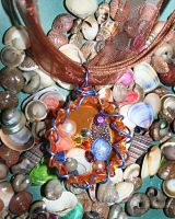 Orange shell bottle cap necklace by SuperFlashDance