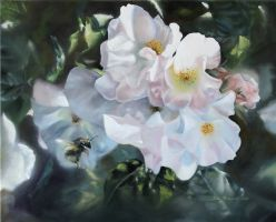 White Roses - Painting by donpackwood