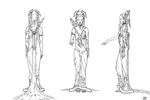 Ice witch concept lineart 2 by Tommi-75