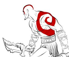 Kratos line art by mixere7