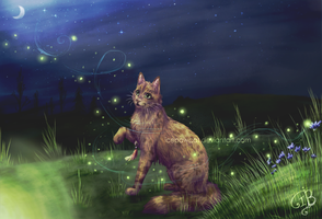 and fireflies fly on the cornflower blue field- by IcepawCat