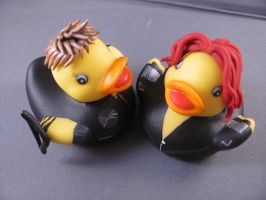 Black Widow and Hawkeye ducks by spongekitty