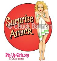 Surprise Attack Bomber Nose Art Pinup Girl by Chuck-Bauman