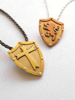 Medieval Rampant Lion or Cross Shield Necklace by AbandonedMemory