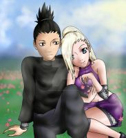 NARUTO - ShikaIno: In the Meadow by Dradra-Trici