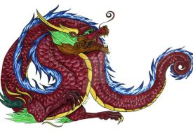 Asian Dragon Fun with Gold ink by The-GoblinQueen