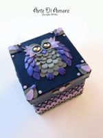 Purple owl Box by ArteDiAmore
