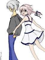 Haseo and Shino Colored Collab by mewpudding101