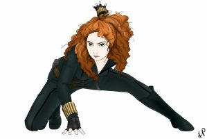 Merida as Black Widow by BeetleSweet
