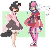 Pink and black themed adopt set price ! (Open) by mikaryu