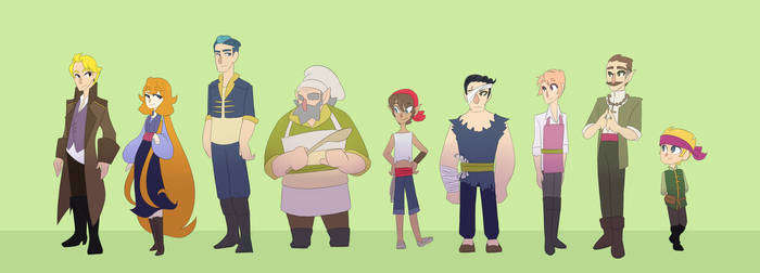 Characters line up by Looji