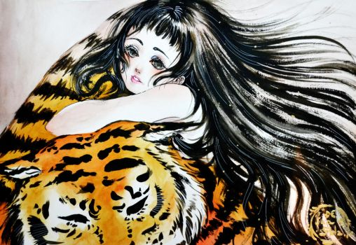 Tiger and Girl by stelaWoo