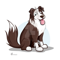Brown Border Collie Caricature by timmcfarlin
