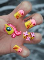 My Little Pony - 3D Fluttershy Nail Art by KayleighOC