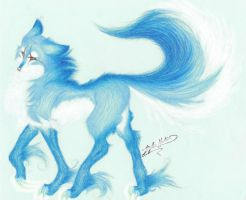 Kariin Blue wolf by KitsuneRedWolf