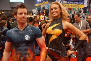 NYCC 2012 - Human Torch - Ms. Marvel - Body Paint1 by kamau123