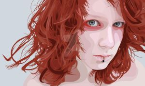 Red Head Scanner Darkly Style by flatfourdesign
