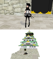 MMD osaka castle + DL by nekovampire95